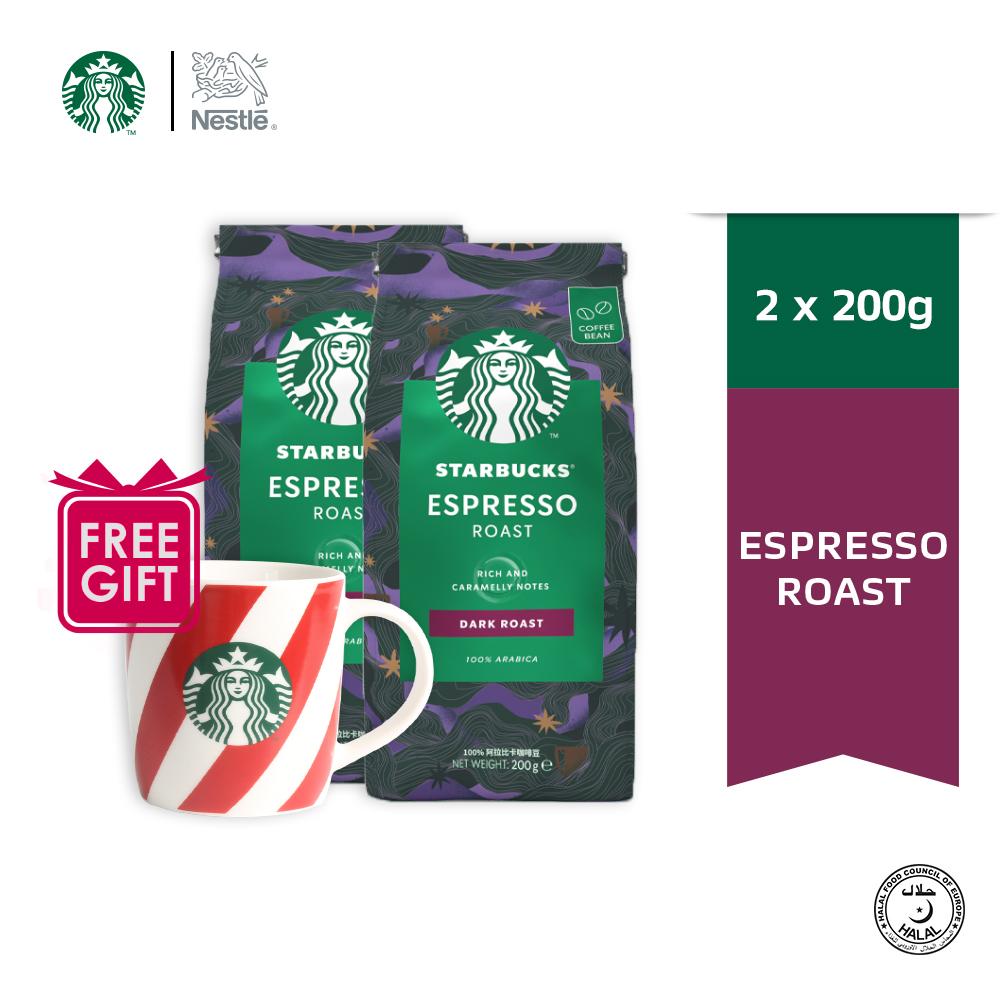STARBUCKS Dark Espresso Roast Whole Bean 200g, Free Mug