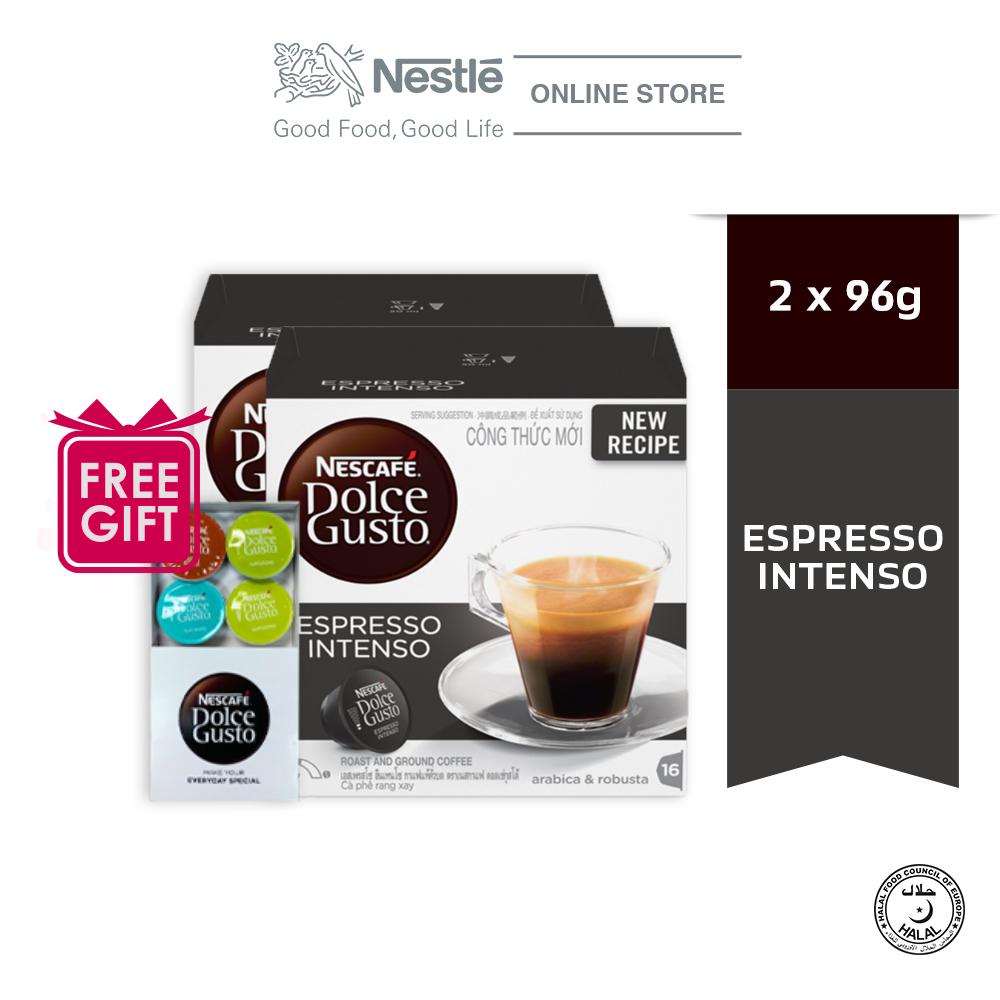 NESCAFE Dolce Gusto Espresso Intenso Coffee 16 Capsules x 2 boxes, Free Starter Kits