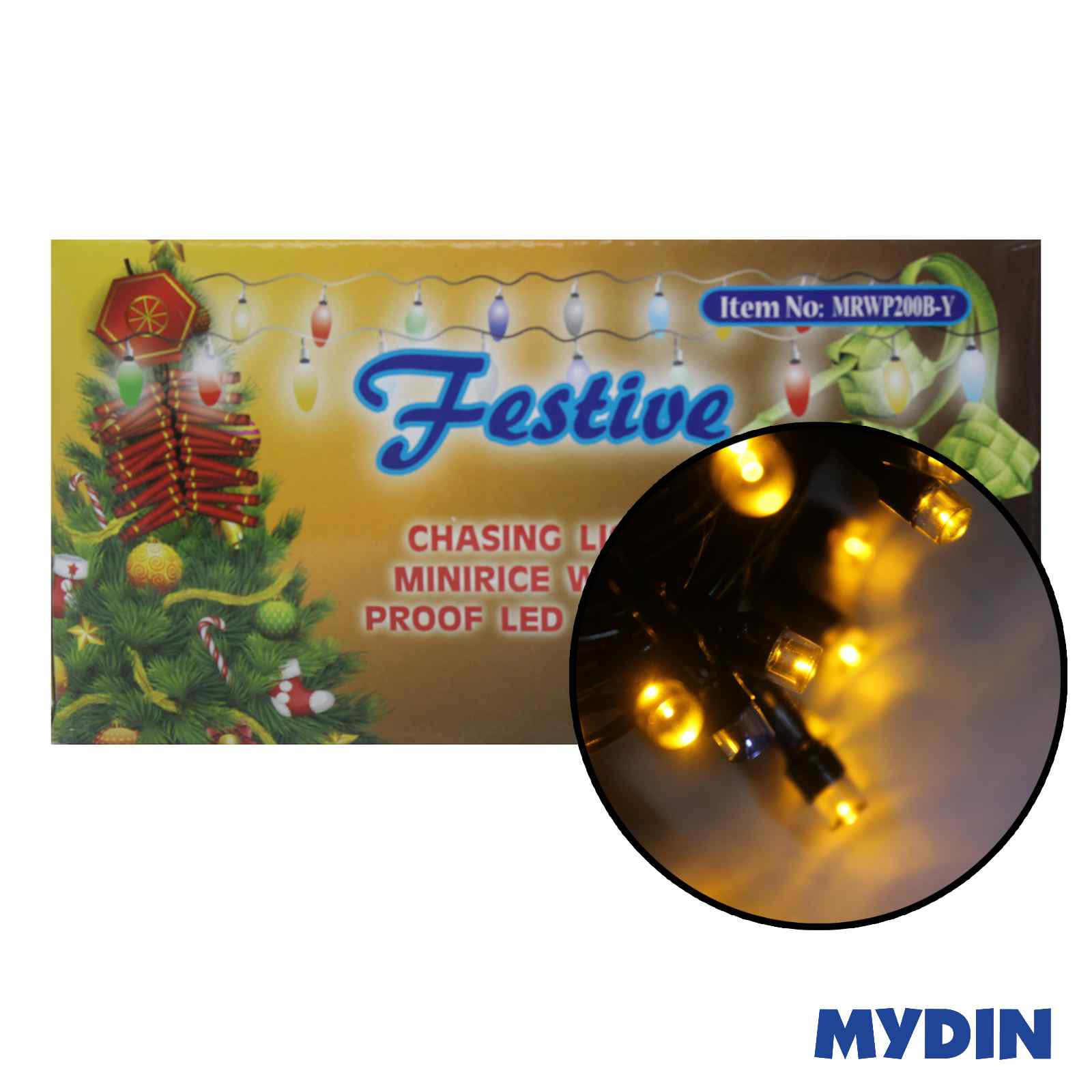 Festive Chasing Light Mini Rice Water Proof LED Yellow Clear