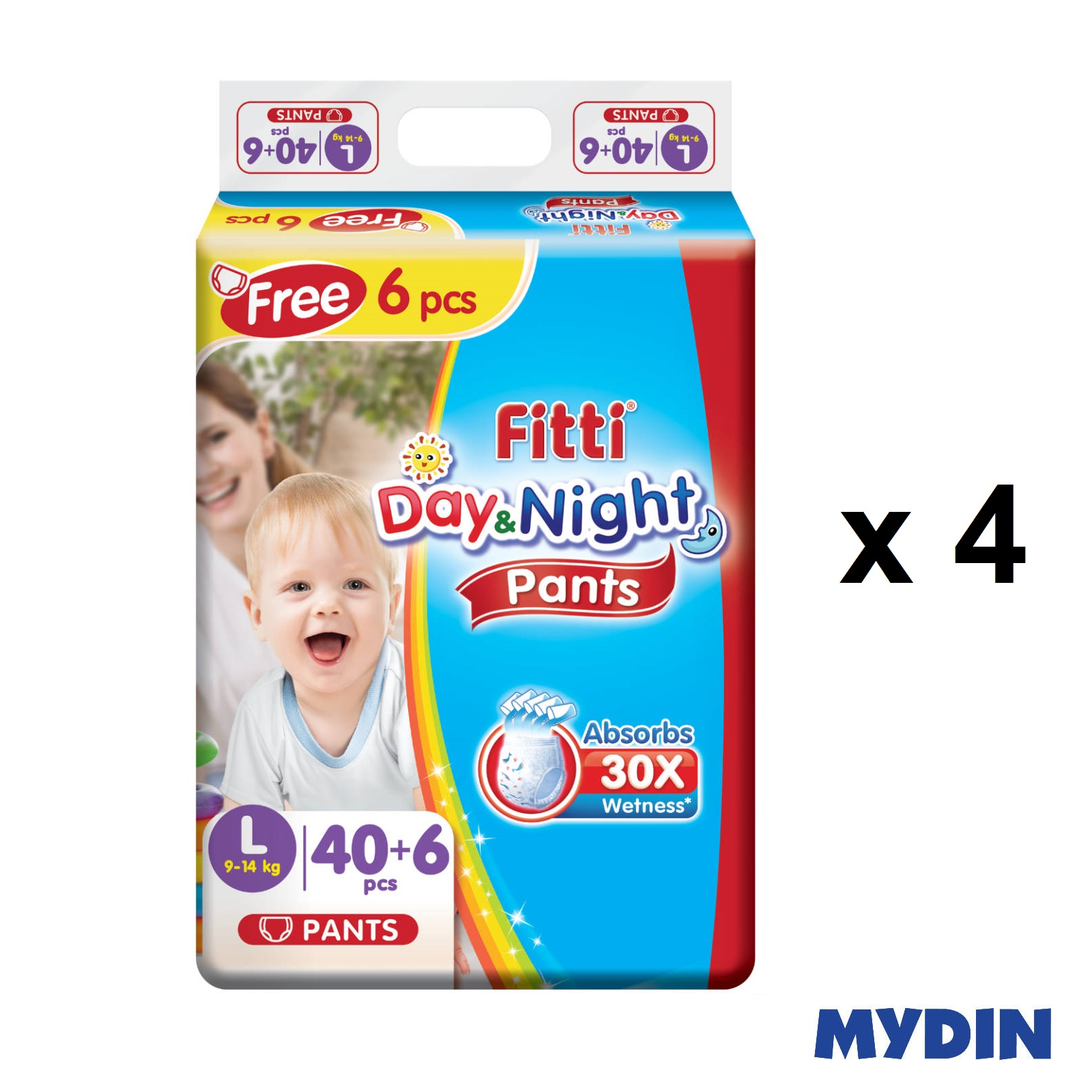 Fitti Day & Night Pants L40+6 (4 Packs)