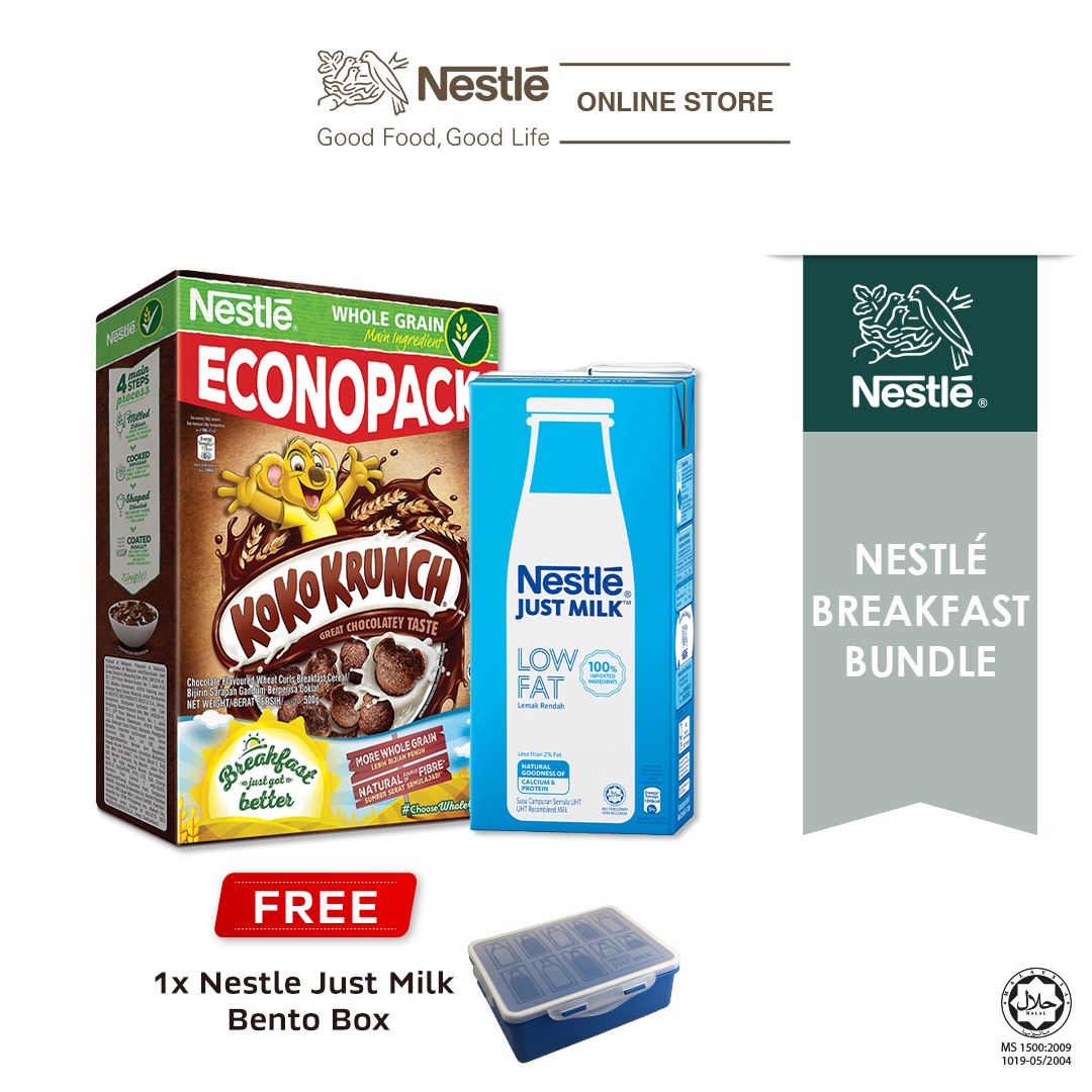 NESTLÉ JUST MILK™ Low Fat 1L & KOKO KRUNCH ECONO 500g, Free Lunch Box