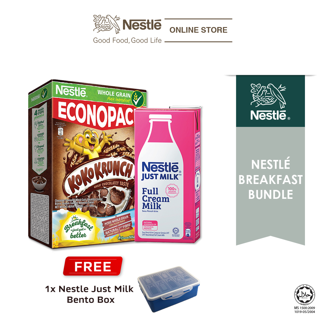 NESTLÉ JUST MILK™ Full Cream 1L & KOKO KRUNCH ECONO 500g, Free Lunch Box