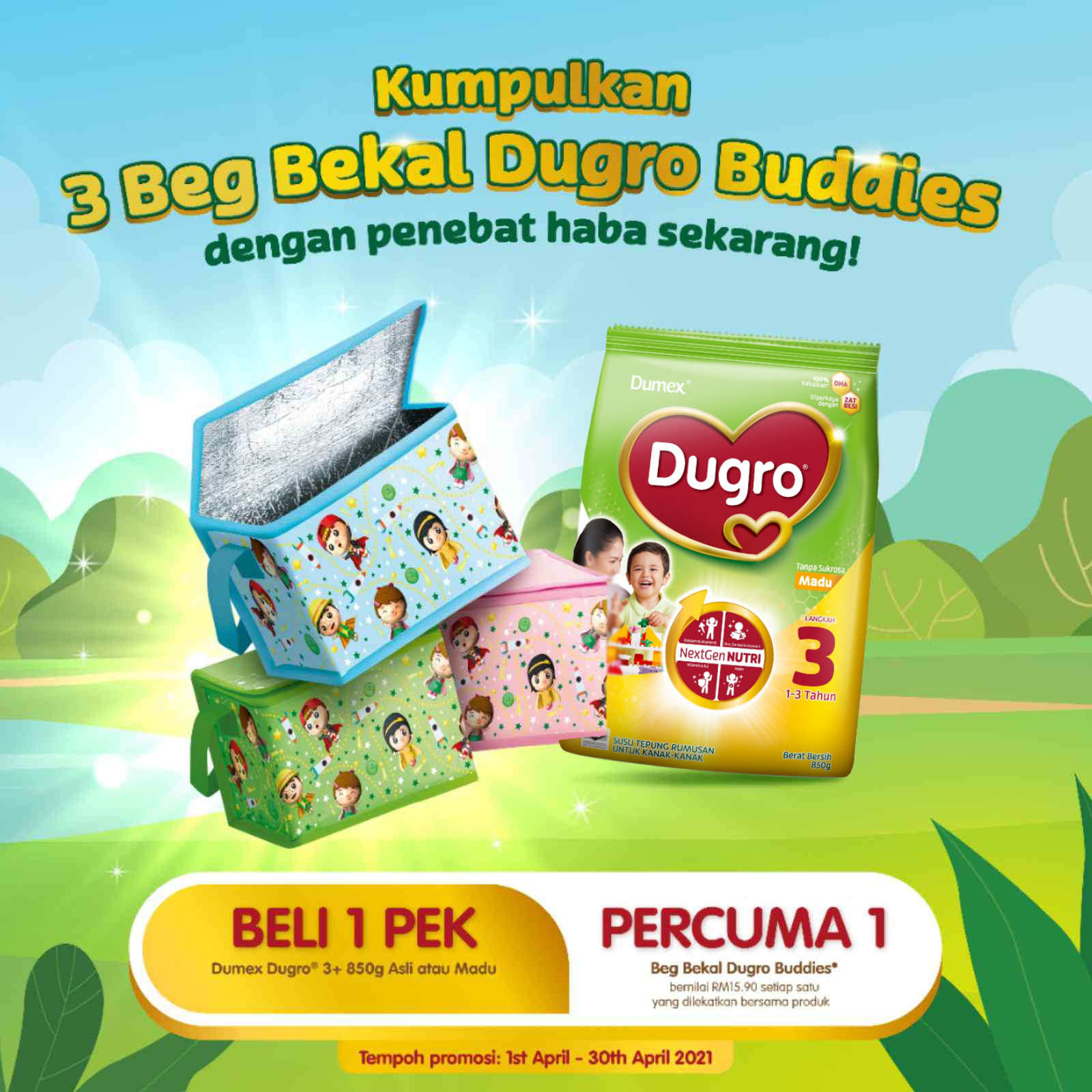 Dumex Dugro 3 Madu (850g) FOC Dugro Buddies Lunch Box Bag