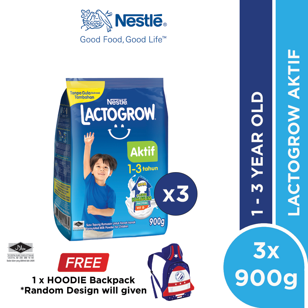 LACTOGROW Aktif 1-3 without Probiotics Softpack 900g x 3, Free Children Hoodie Backpack
