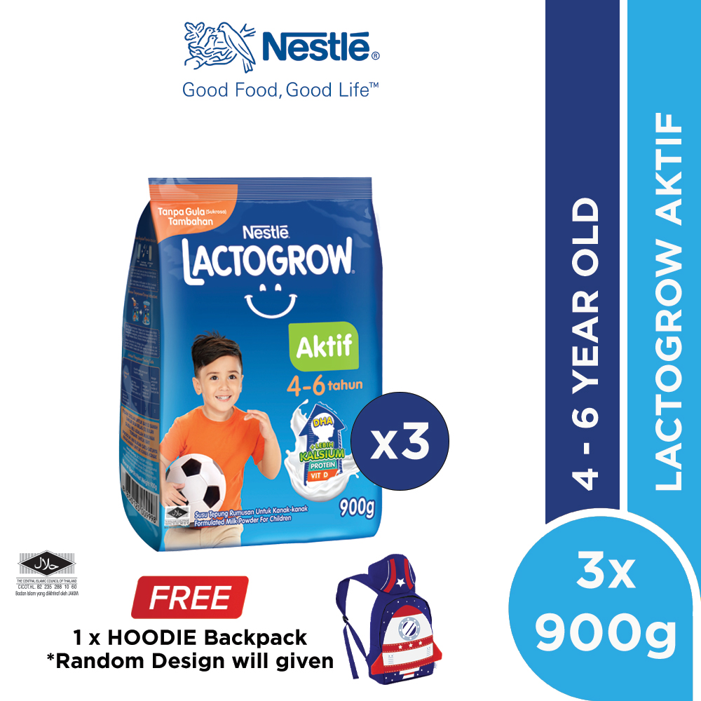 LACTOGROW Aktif 4-6 without Probiotics Softpack 900g x 3, Free Children Hoodie Backpack