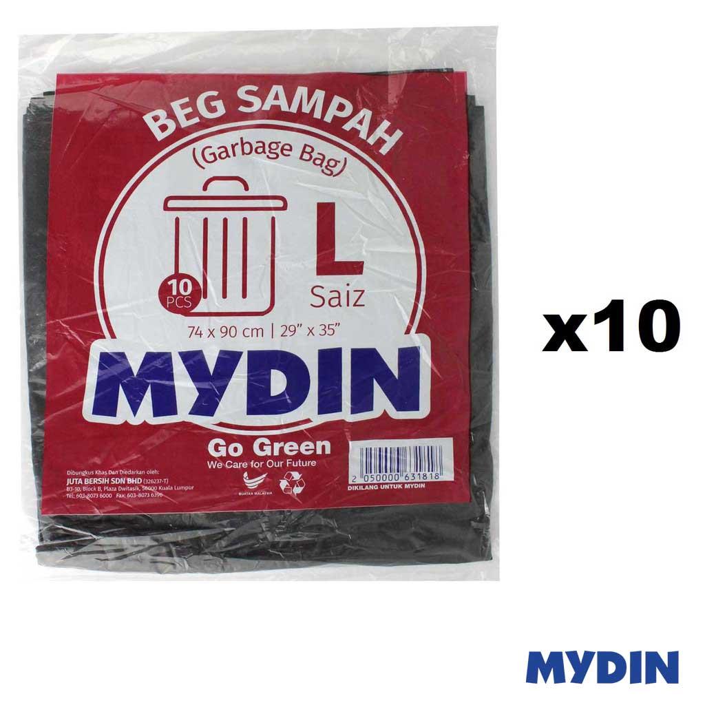 Mydin Garbage Bag 74 x 90cm Size L (10sx10)