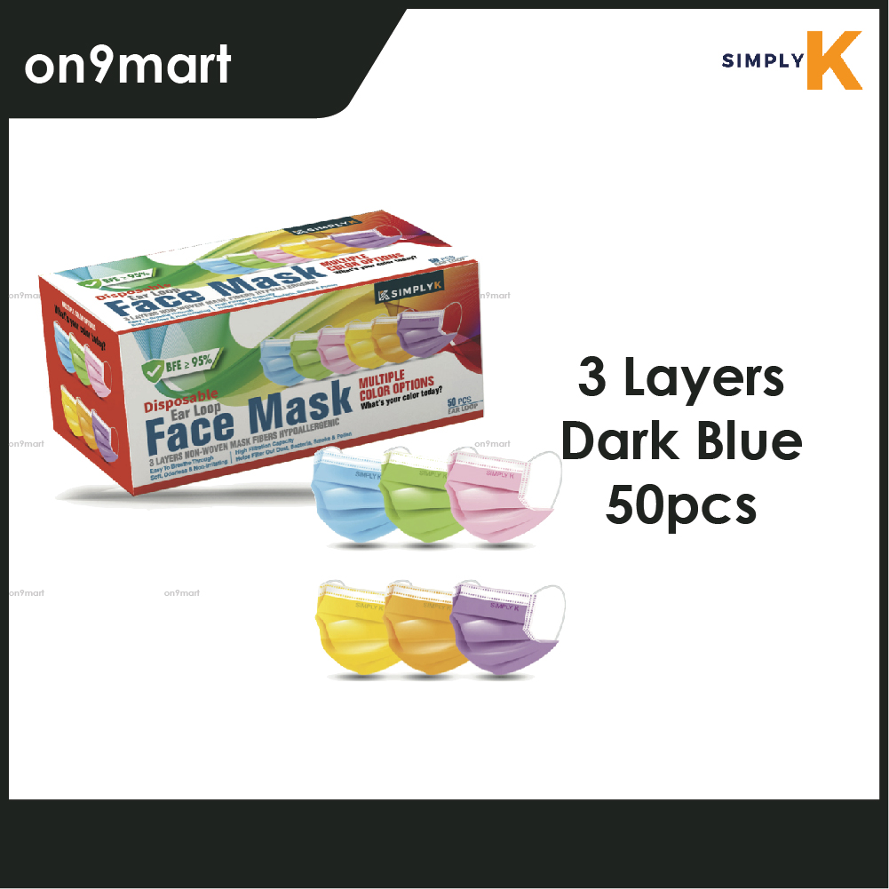 Simply K Ear Loop 3 Layers Non-Wowen Face Mask 50's (Multi Color)