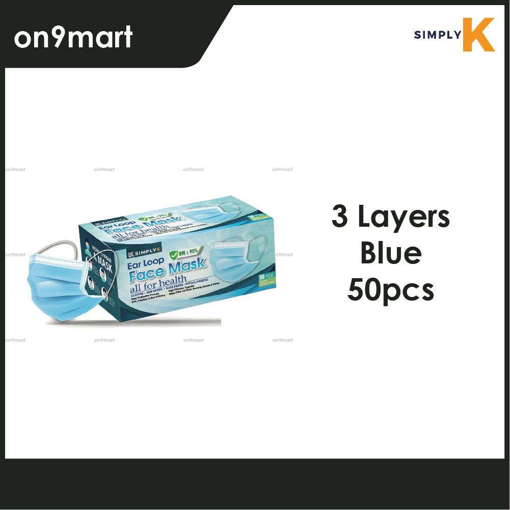 Simply K Ear Loop 3 Layers Non-Wowen Face Mask 50's - Blue, Dark Blue, Black and more color