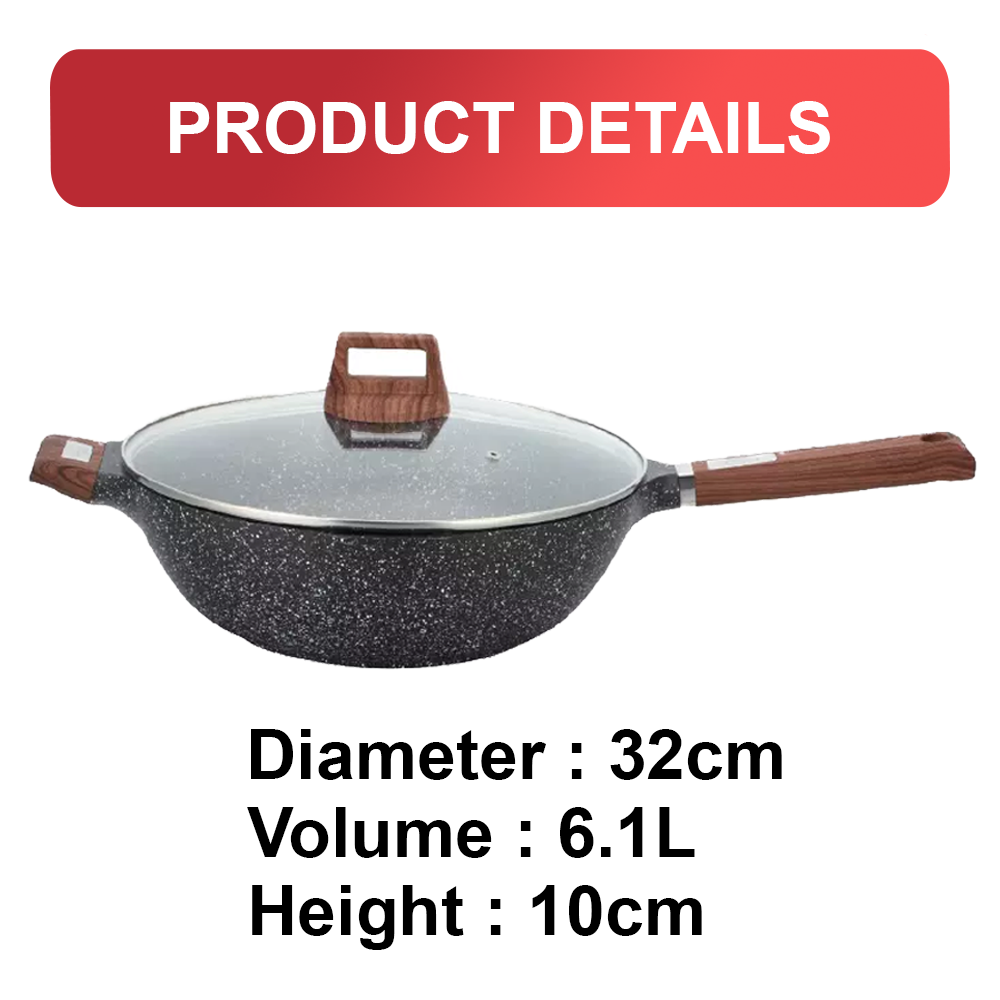 Vantage Non-stick 32cm Wok with Lid (6.1L) with IH