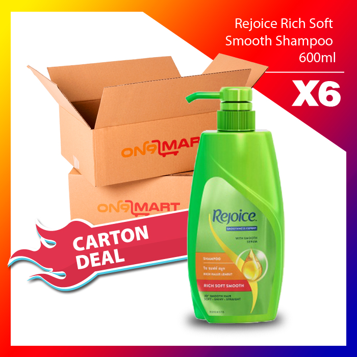 Carton Deal Rejoice Rich Soft Smooth Hair Shampoo 600ml x 6
