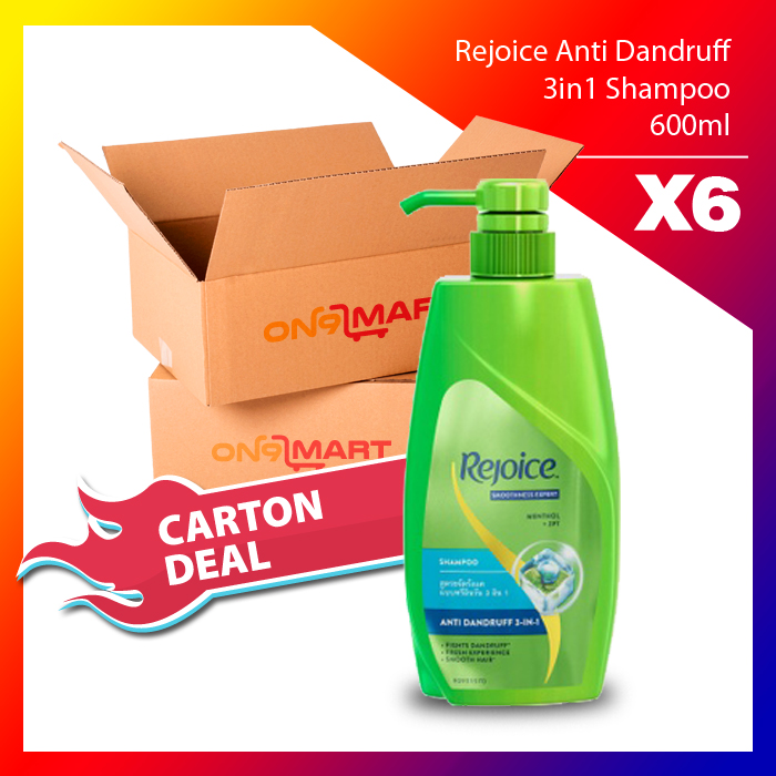 Carton Deal Rejoice Anti Dandruff 3in1 Hair Shampoo 600ml x 6