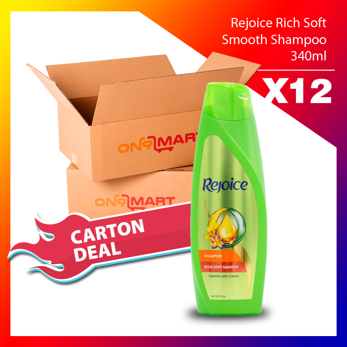 Carton Deal Rejoice Rich Soft Smooth Hair Shampoo 340ml x 12