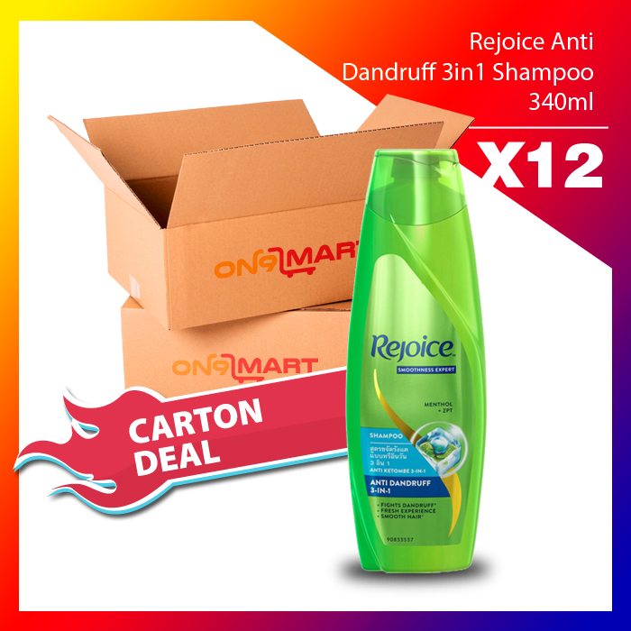Carton Deal Rejoice Anti Dandruff 3in1 Hair Shampoo 340ml x 12