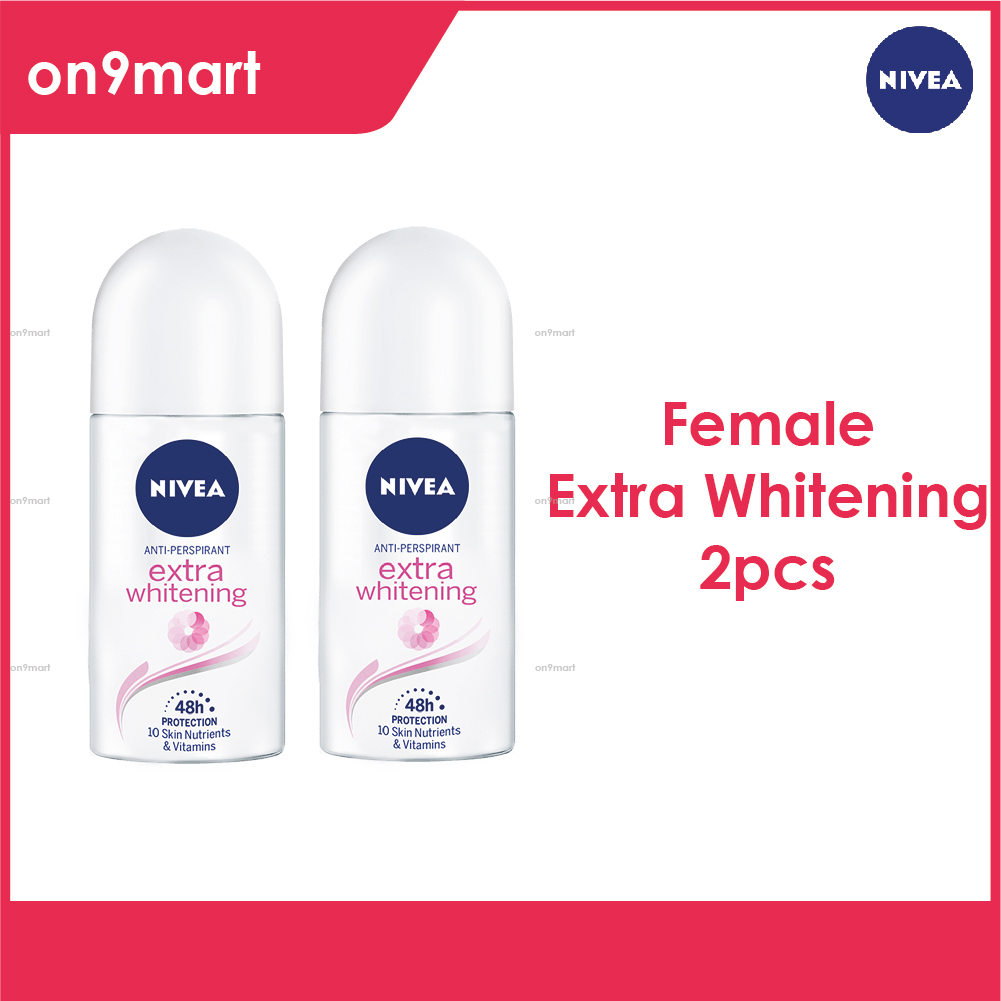 NIVEA Female Deodorant Roll On Extra Whitening 50ml x 2