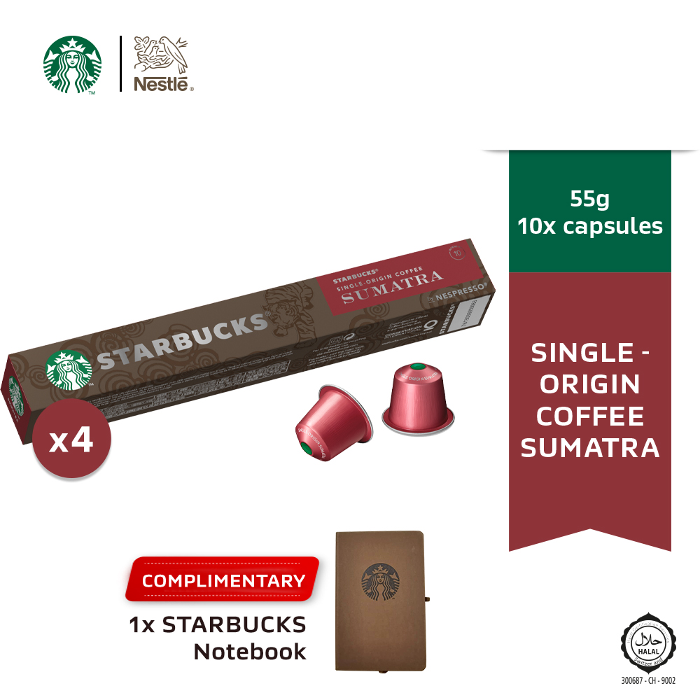 Starbucks® Single-Origin Sumatra® by Nespresso® Dark Roast Coffee Caps, 10 capsules x4 boxes Free Notebook