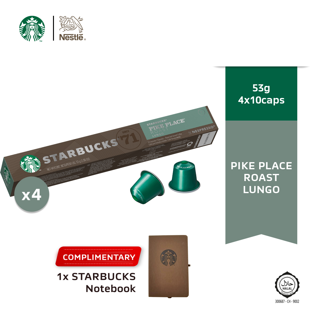 Starbucks® Pike Place® Roast by Nespresso® Dark Roast Coffee Capsules, 10 capsules x4 boxes, Free Notebook