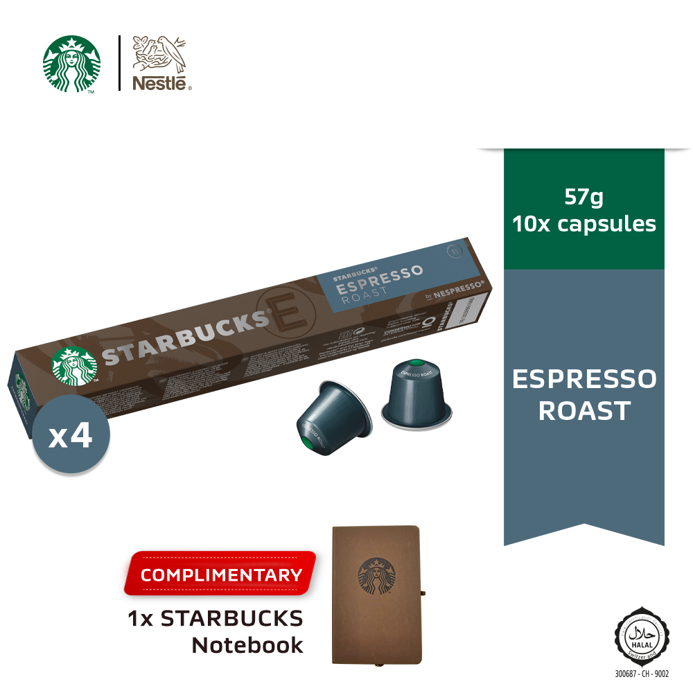 Starbucks® Espresso® Roast by Nespresso® Dark Roast Coffee Capsules x 4 boxes Free Notebook