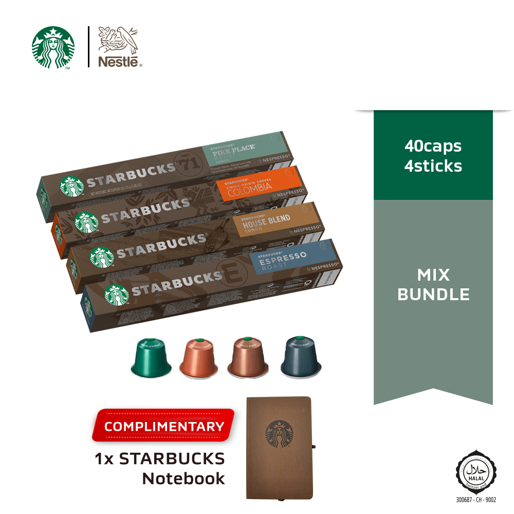Starbucks® Mix Bundles Coffee Capsules x 4 boxes (COLOMBIA), Free Notebook