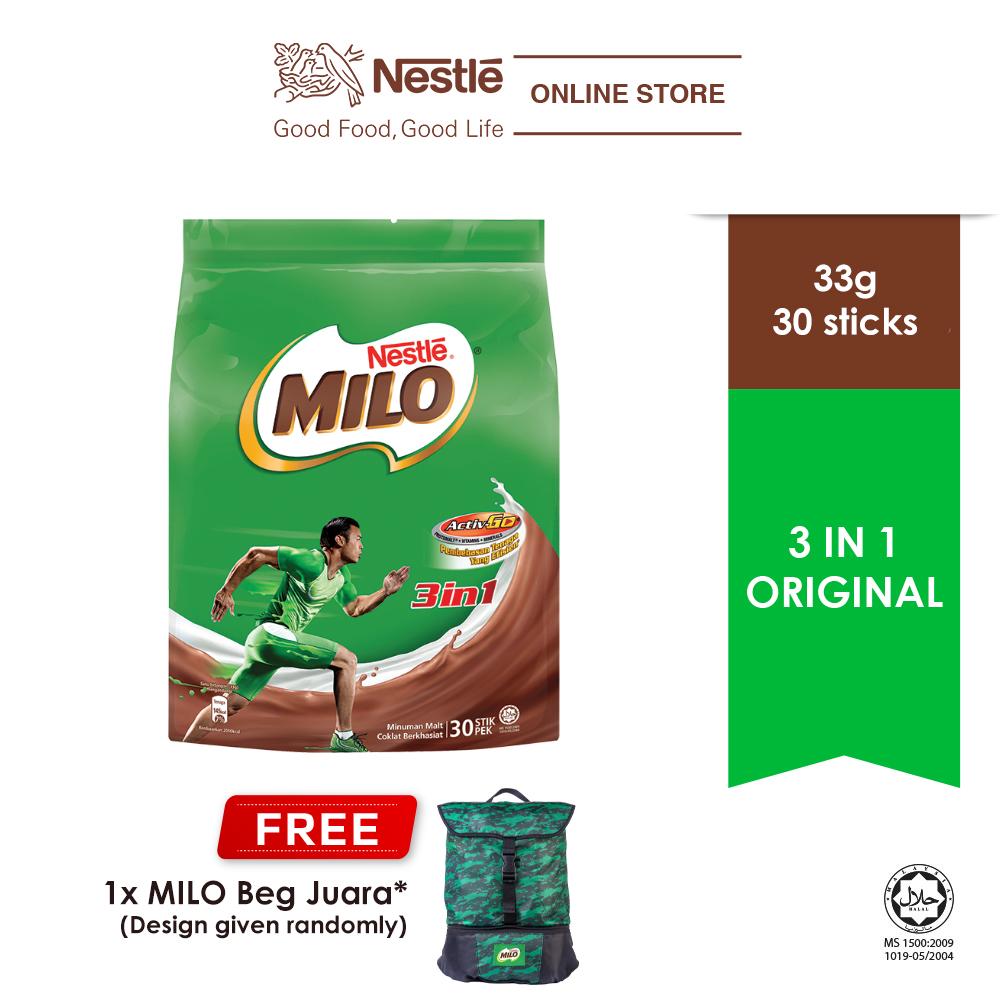 NESTLE MILO 3IN1 ACTIV-GO 30 Sticks 33g, Free Juara Bag