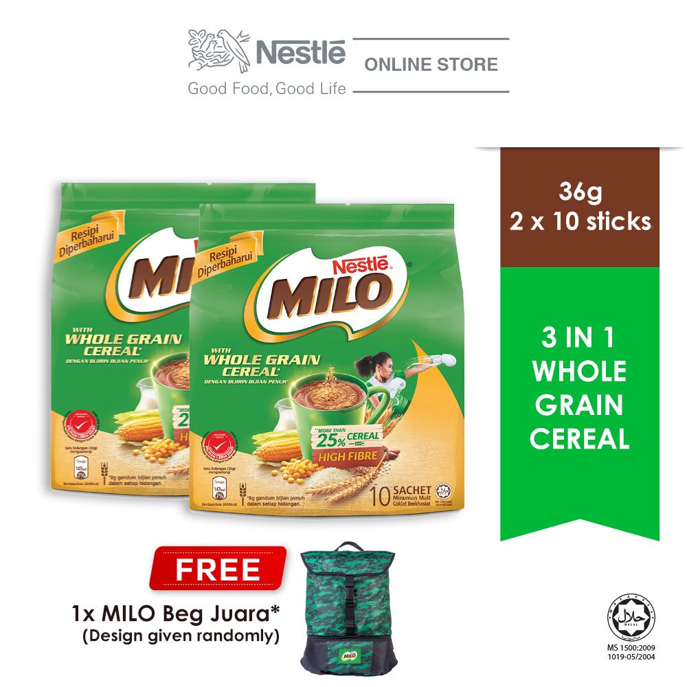 MILO ACTIV-GO Whole Grain Cereal 10stick x 36g, 2 packs Free Juara Bag