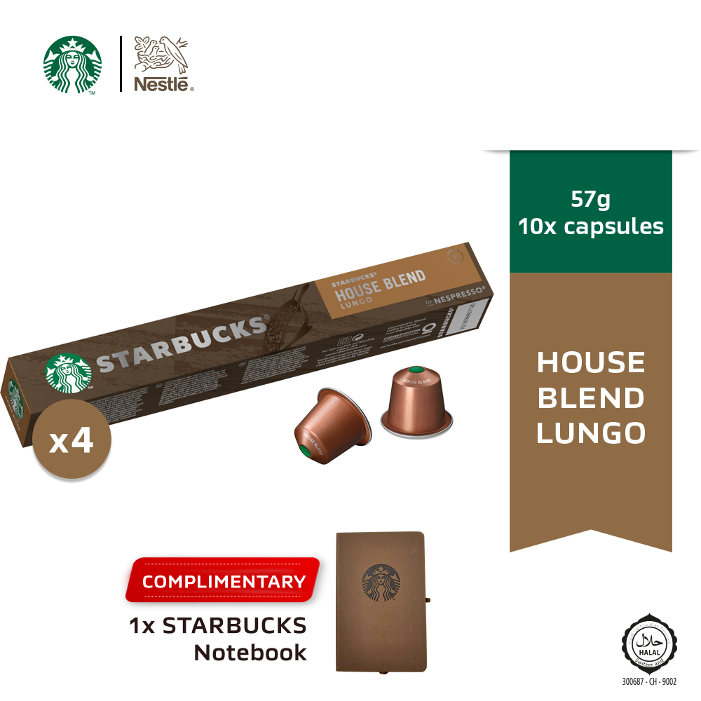 Starbucks House Blend Lungo by Nespresso Medium Roast Coffee Capsules,10 ca x4 boxes