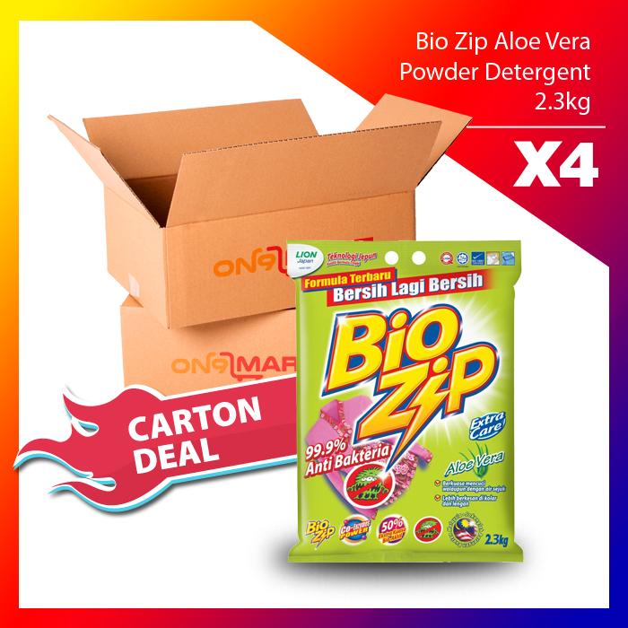 Carton Deal Bio Zip Aloe Vera Powder Detergent 2.3kg x 4