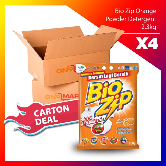 Carton Deal Bio Zip Orange Powder Detergent 2.3kg x 4