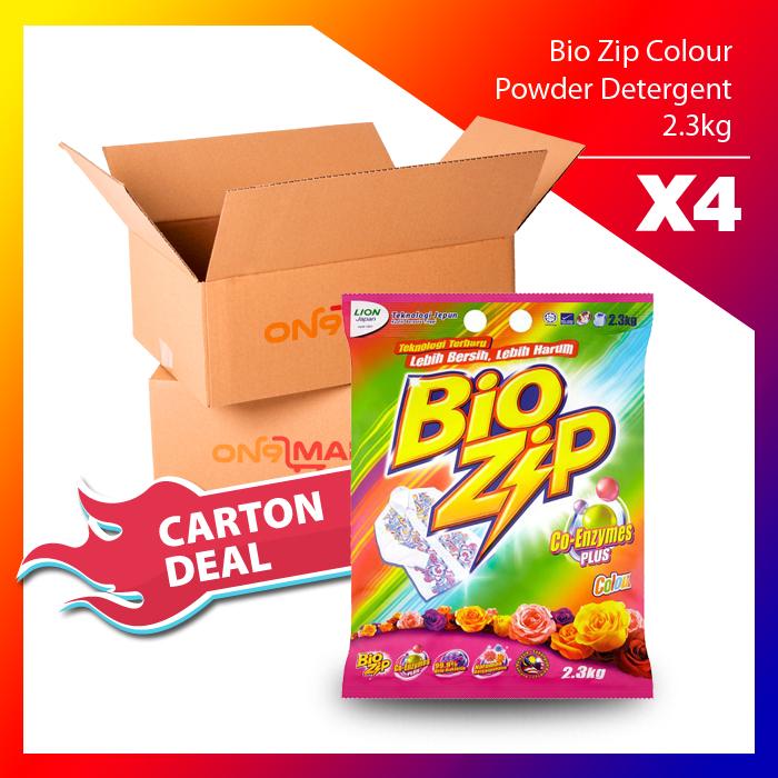 Carton Deal Bio Zip Colour Powder Detergent 2.3kg x 4