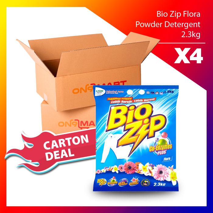 Carton Deal Bio Zip Flora Powder Detergent 2.3kg x 4
