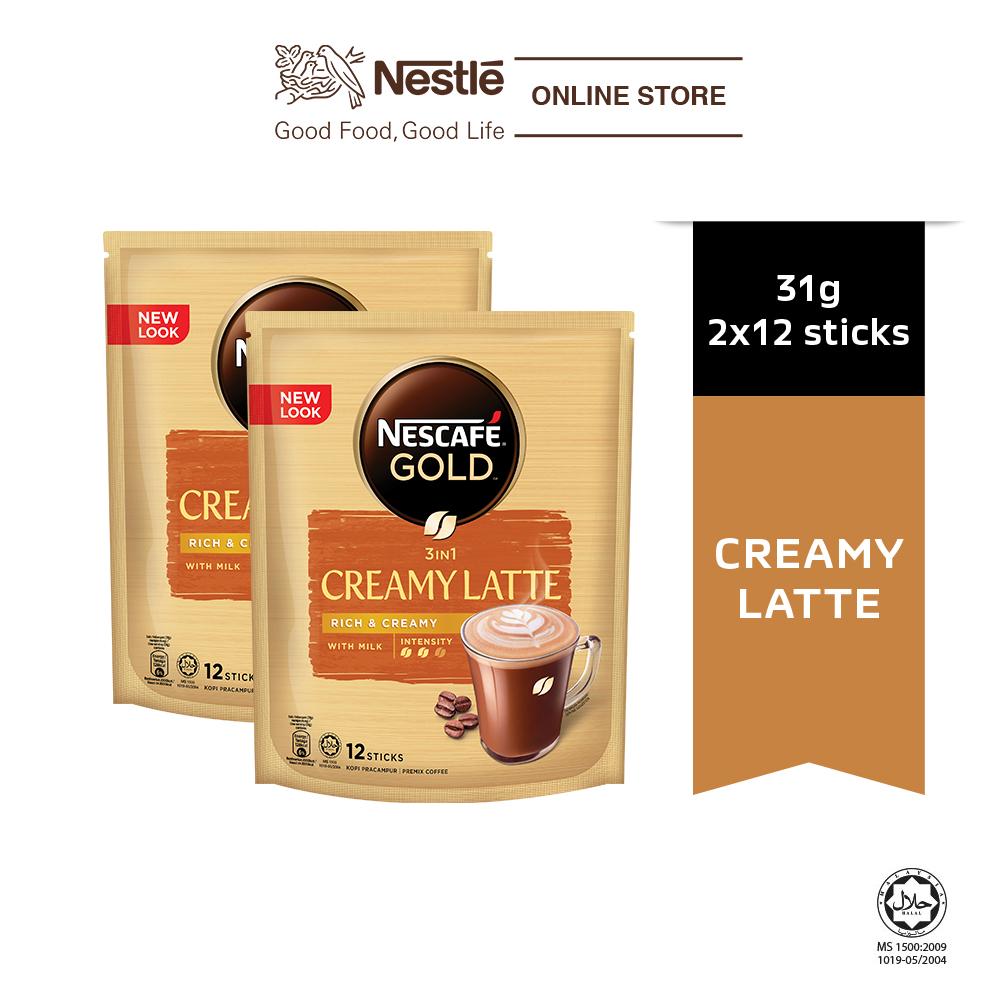 NESCAFÉ GOLD Creamy Latte 12 sticks, 31g Each x2 packs