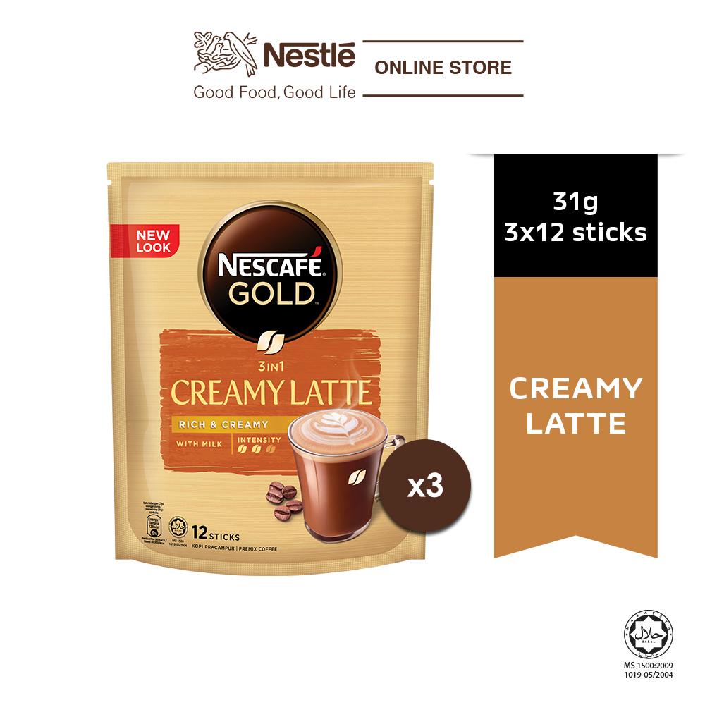 NESCAFÉ GOLD Creamy Latte 12 sticks, 31g Each x3 packs