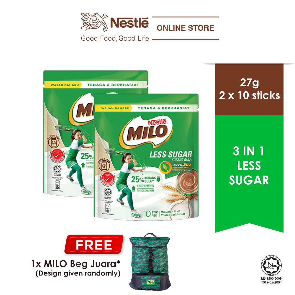 NESTLÉ MILO ACTIV-GO Less Sugar 10 Sticks x 26g x 2 pack, Free Juara Bag
