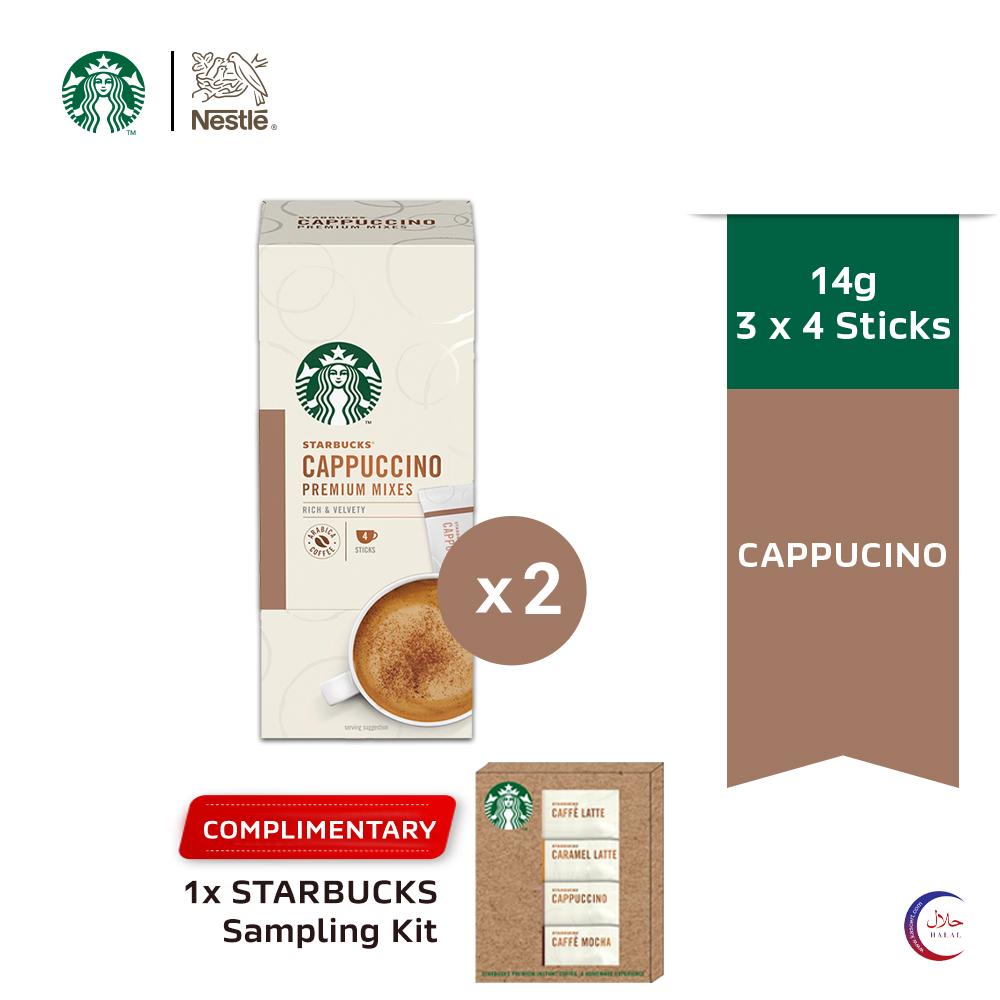 Starbucks® Cappuccino Premium Instant Coffee Mixes (4 Sticks/Box), x2 boxes Free Mixes Sachets