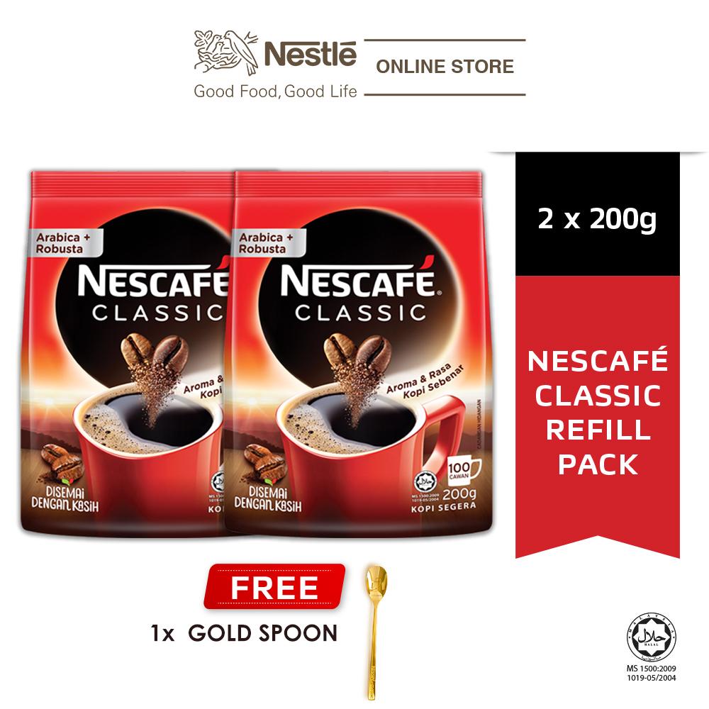 NESCAFÉ CLASSIC Coffee Refill 200g x2 packs, Free Gold Spoon