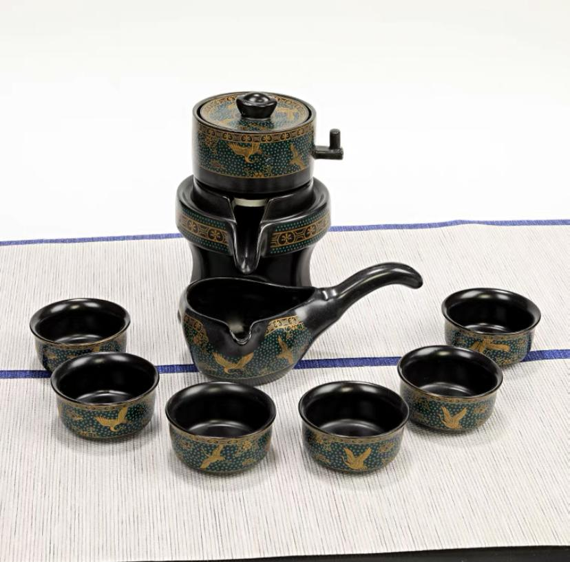 Lazy Stone Mill Kung Fu Tea Set Household Ceramic Teapot Cup Anti-scalding Semi-automatic Filter Rotary Tea Brewer