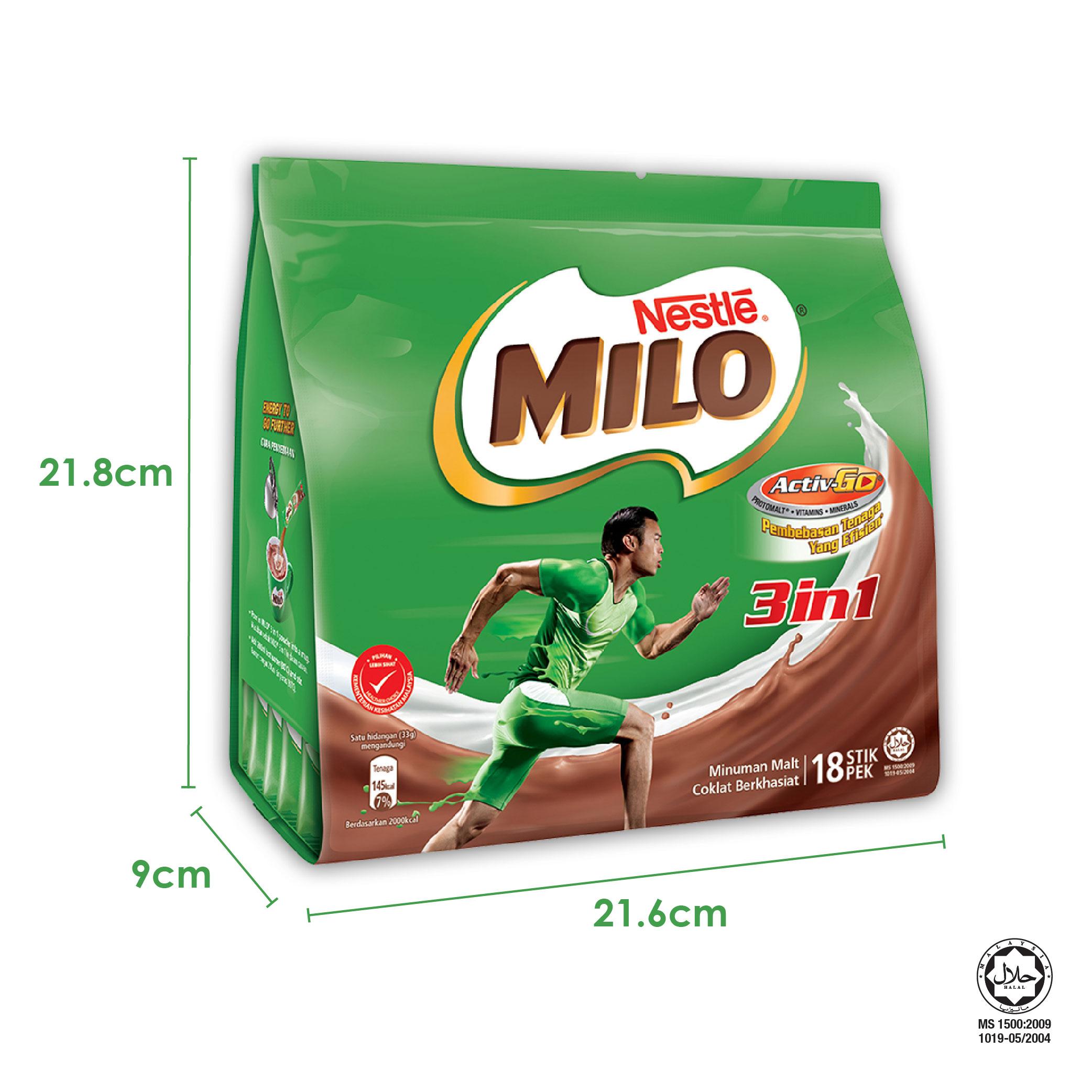 NESTLE MILO 3IN1 ACTIV-GO 18 Sticks 33g Free 3 sachets 30g Plus Fibre