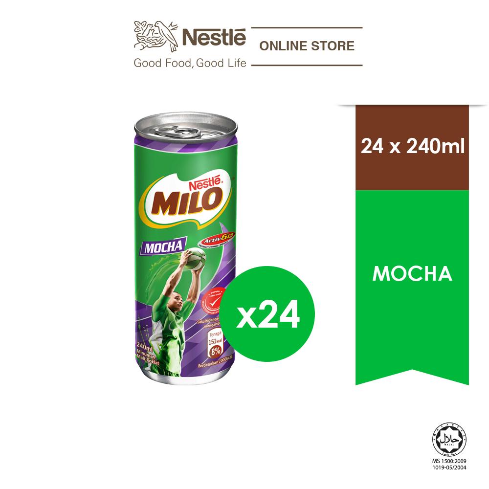NESTLÉ MILO Activ-Go Mocha Chocolate Malt RTD 24 Cans 240ml