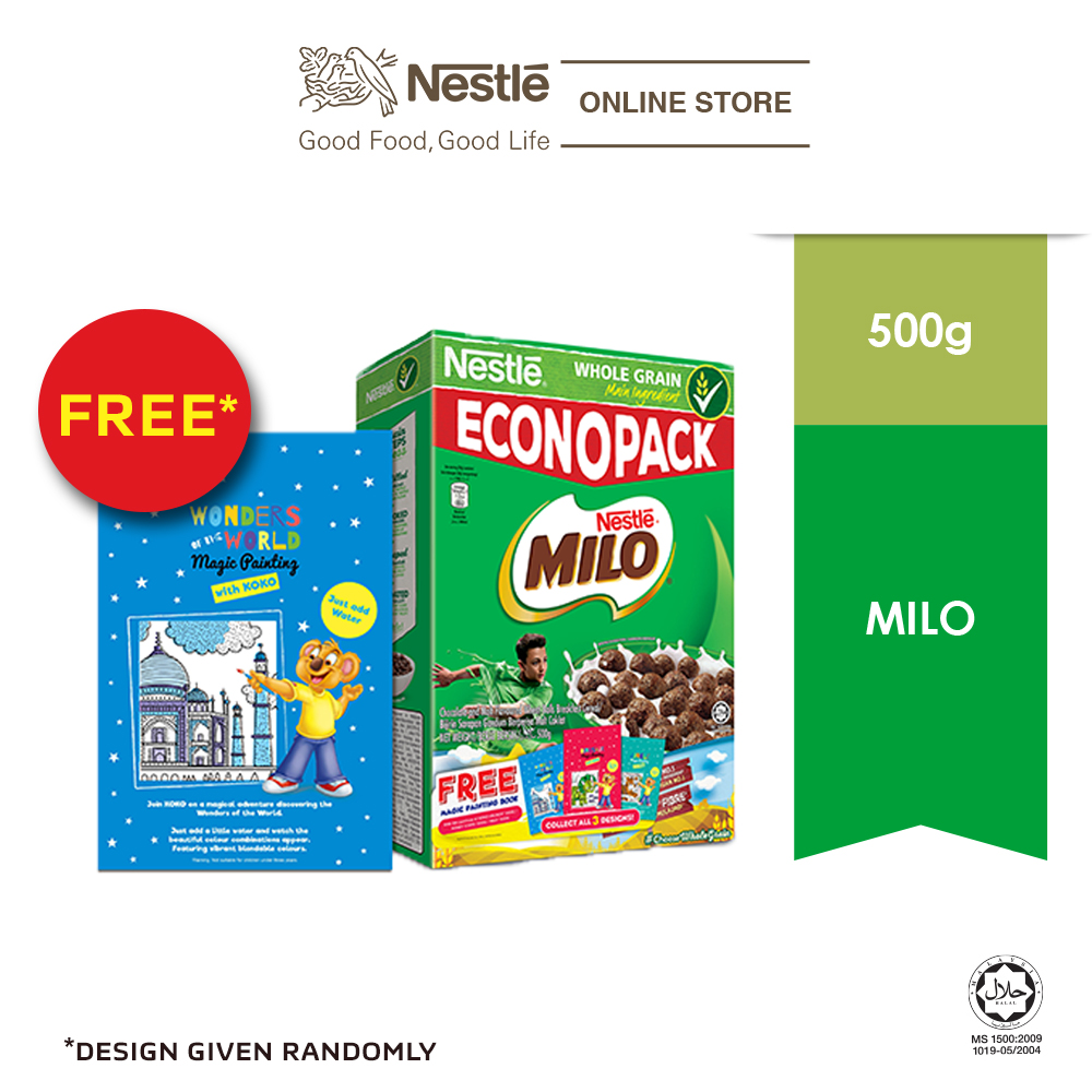 NESTLE MILO Cereal Econopack 500g FREE Paint Book