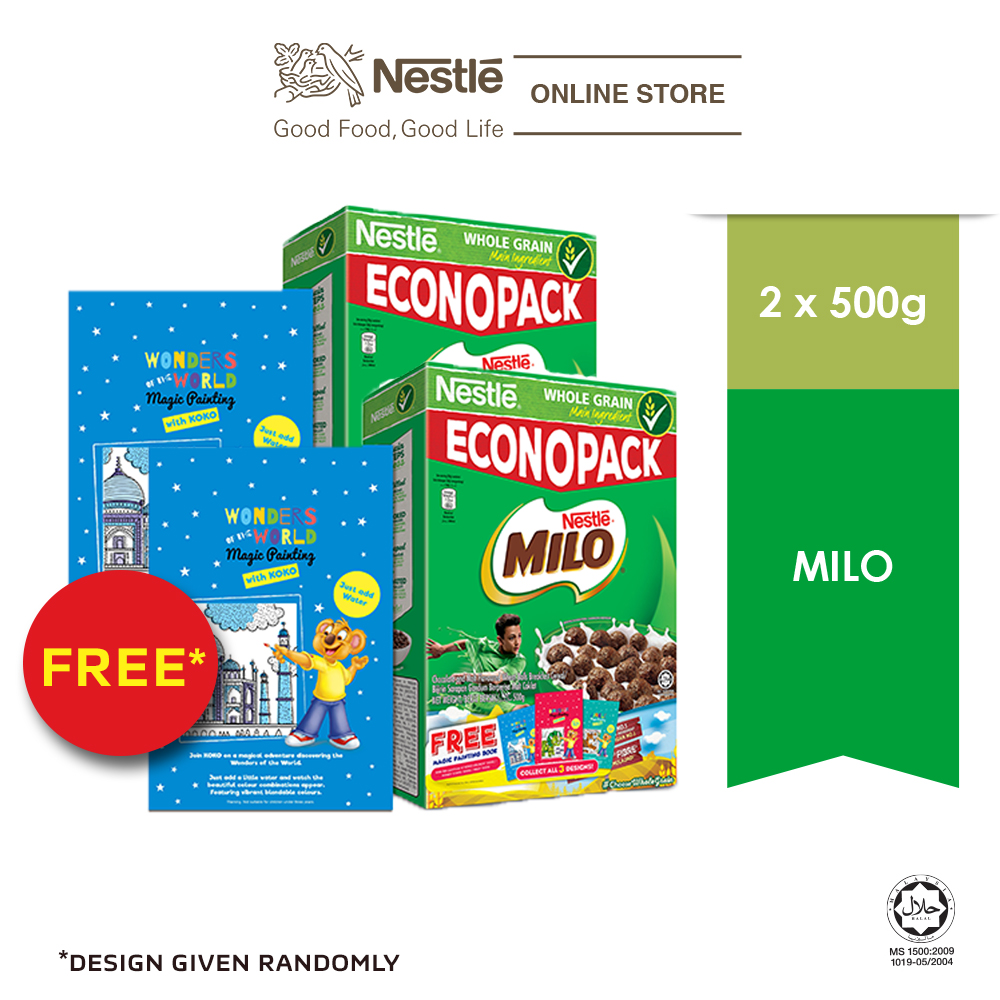 NESTLE MILO Cereal Econopack 500g FREE Paint Book , x 2 boxes