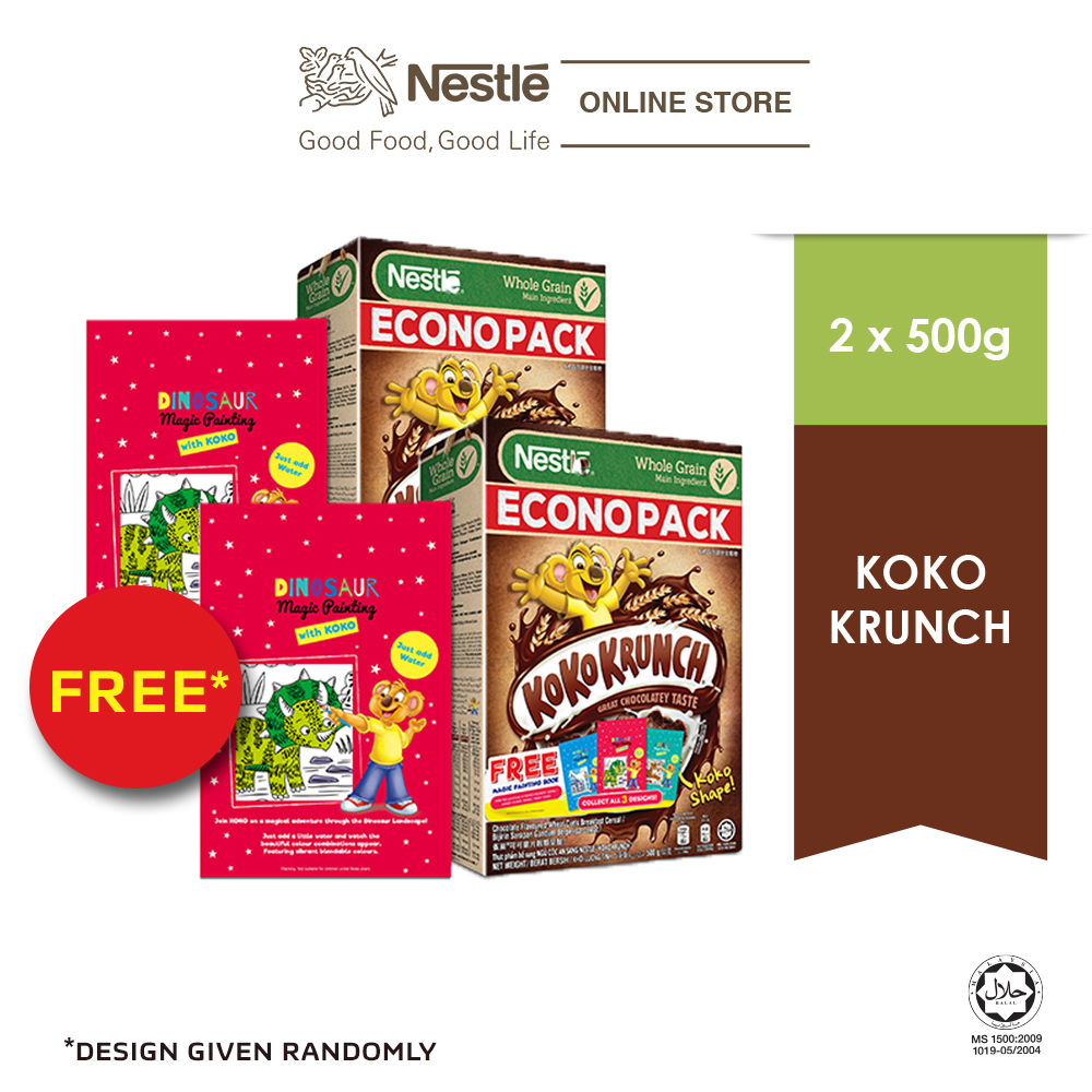 NESTLE KOKO KRUNCH Chocolate Cereal Econopack 500g FREE Paint Book, x2 boxes