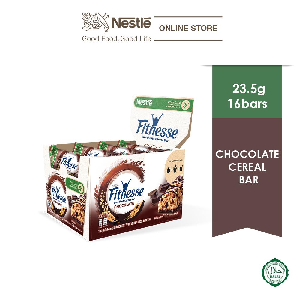 NESTLE Chocolate Fitnesse Breakfast Cereal Bar 16 Bars 23.5g Each