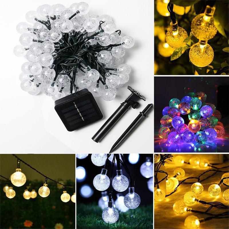 Bubble solar string outer diameter waterproof solar light LED crystal light string outdoor lighting