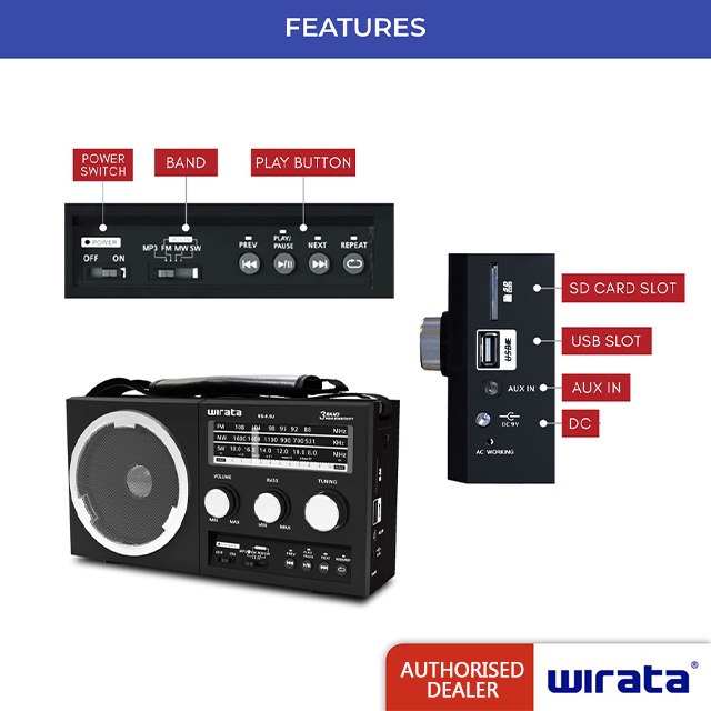 Wirata Portable Radio With USB/SD/AUX/REMOTE RS-8.5U