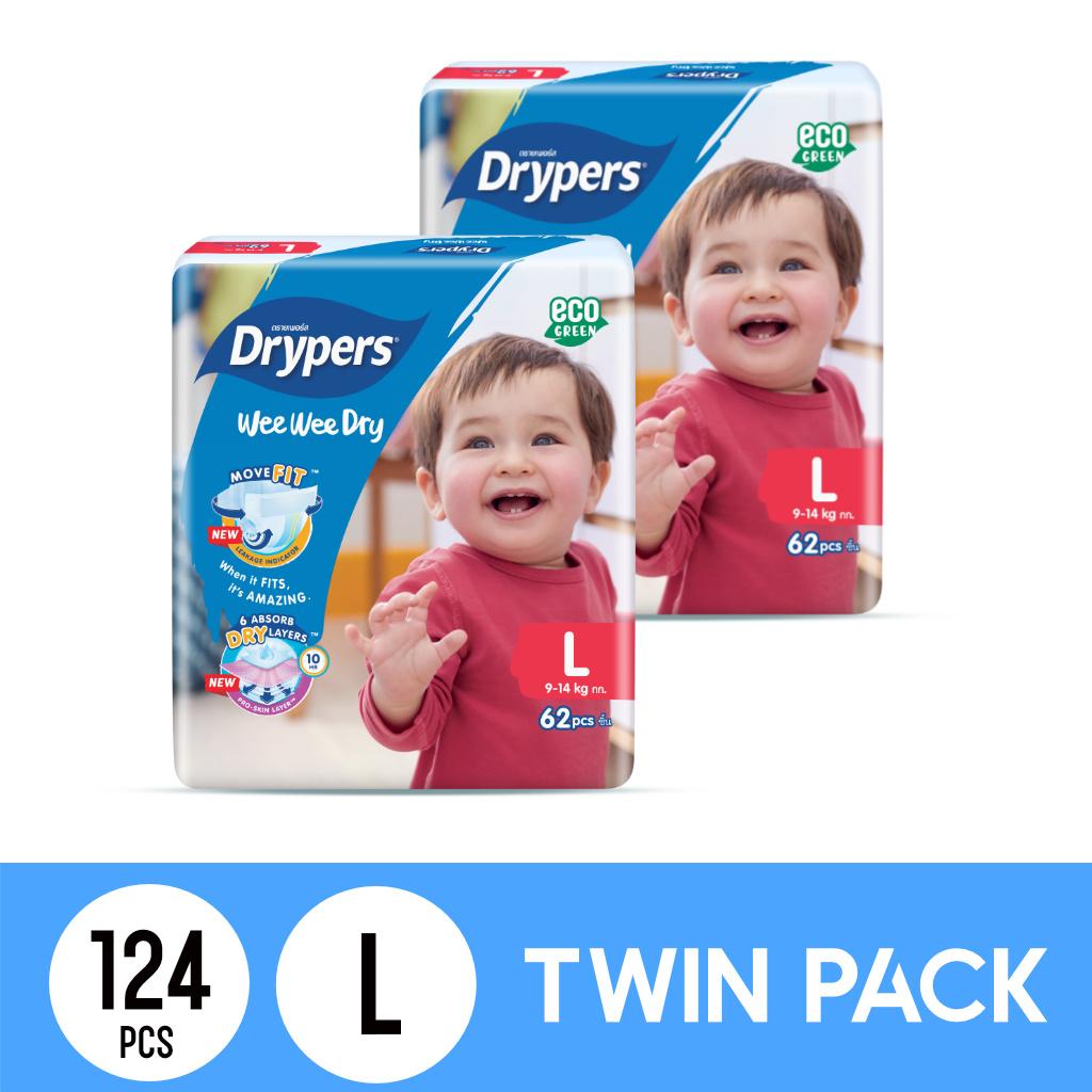 Drypers Wee Wee Dry Twinpack L62 (124pcs)