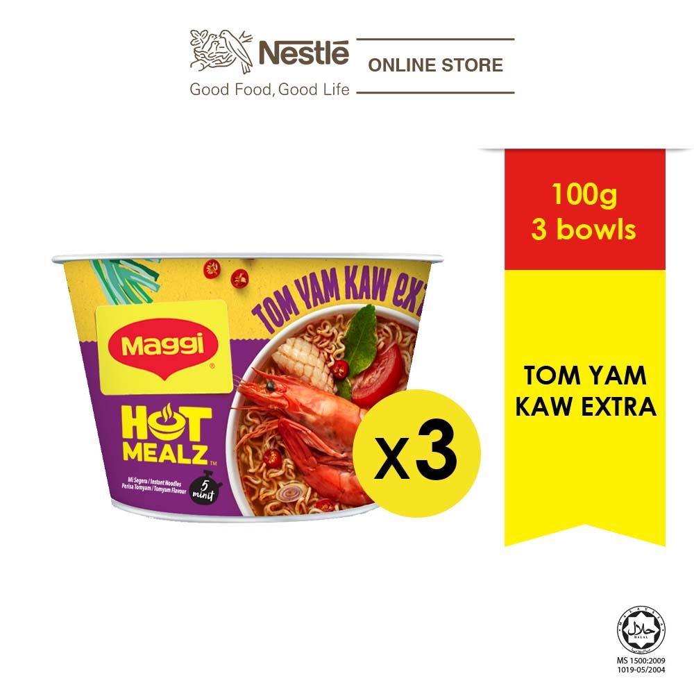 MAGGI Hot Mealz Tom Yam Kaw Extra 101g x3 bowls