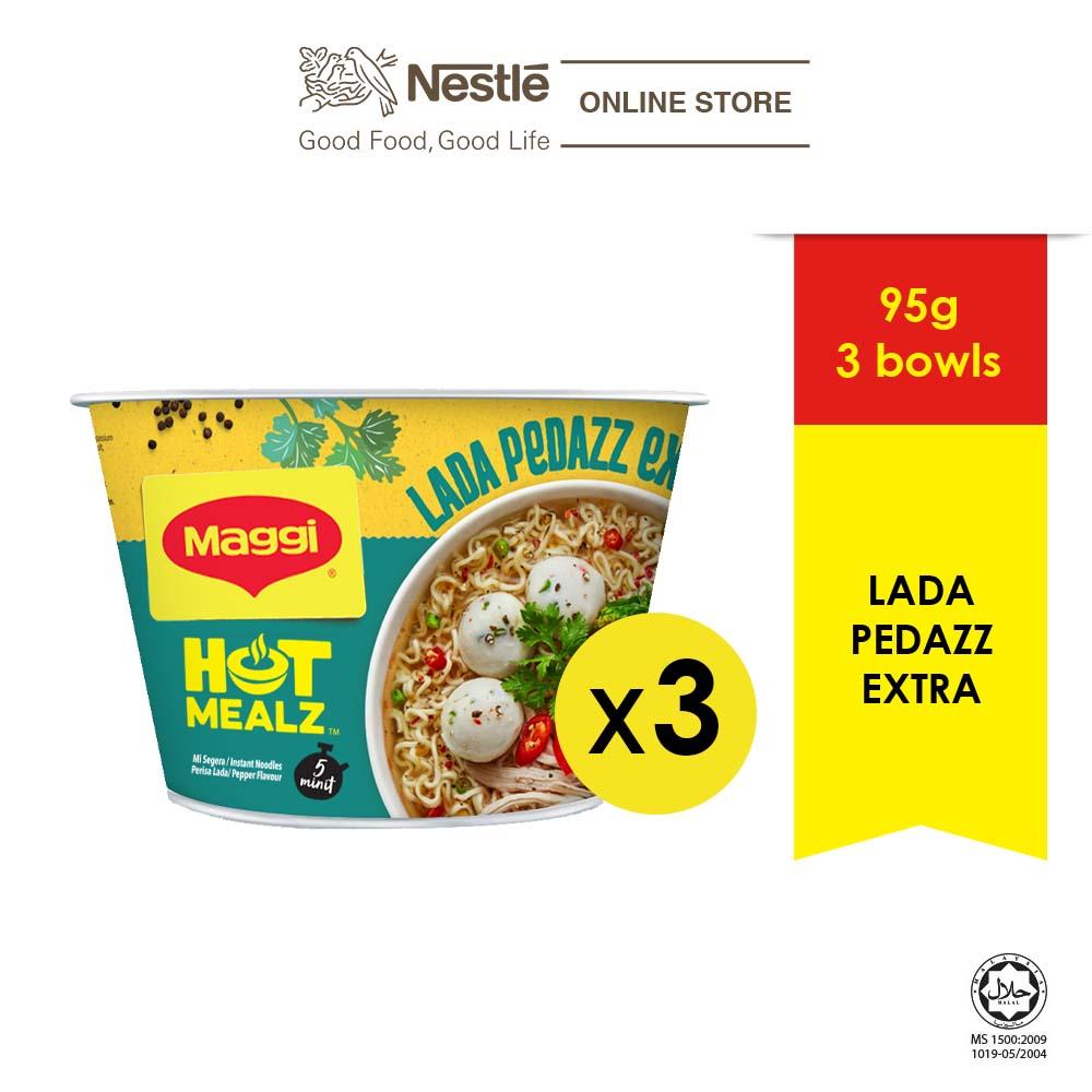 MAGGI Hot Mealz Lada Pedazz Extra 95g x3 bowls