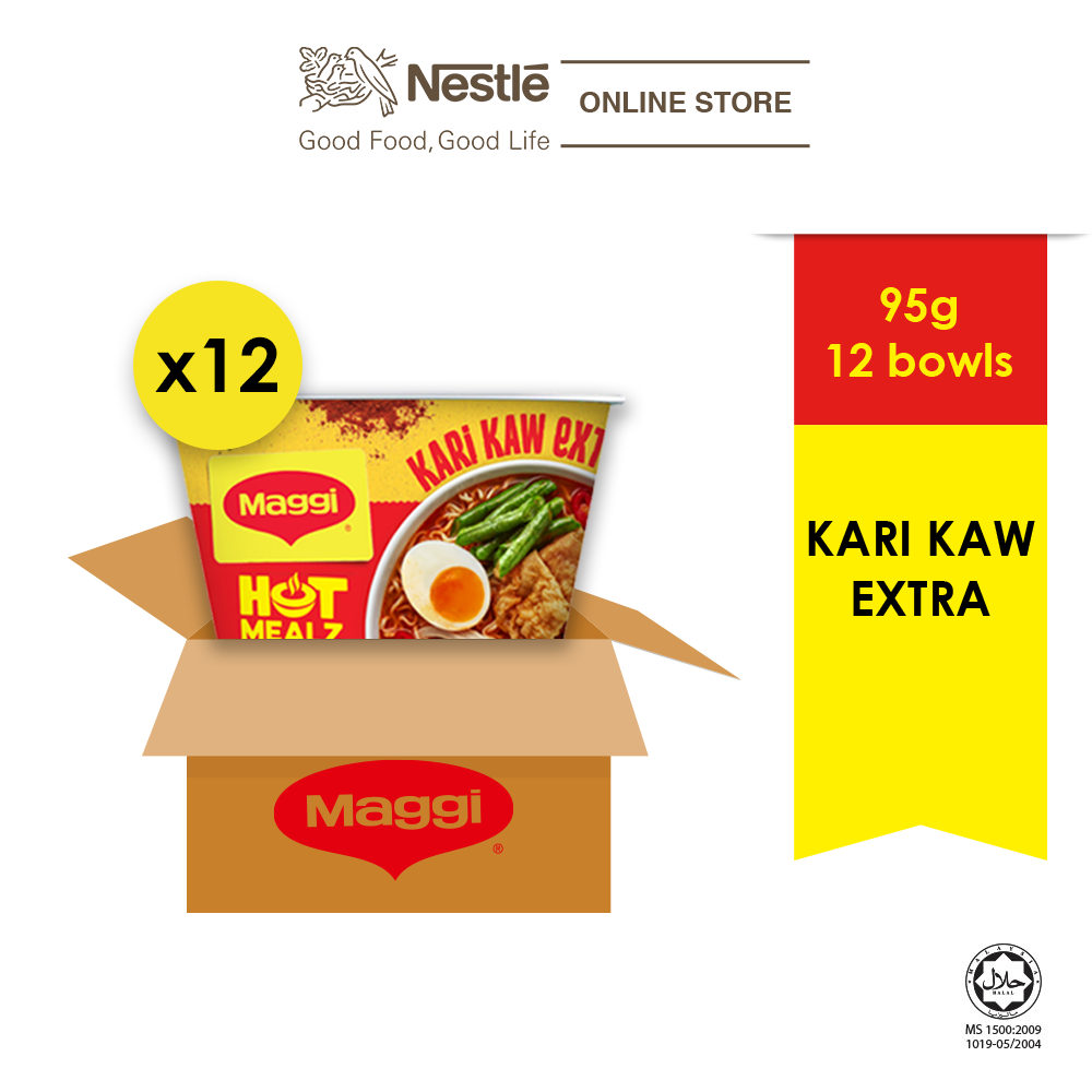 MAGGI Hot Mealz Kari Kaw Extra 95g x 12 Bowls (1 Carton)