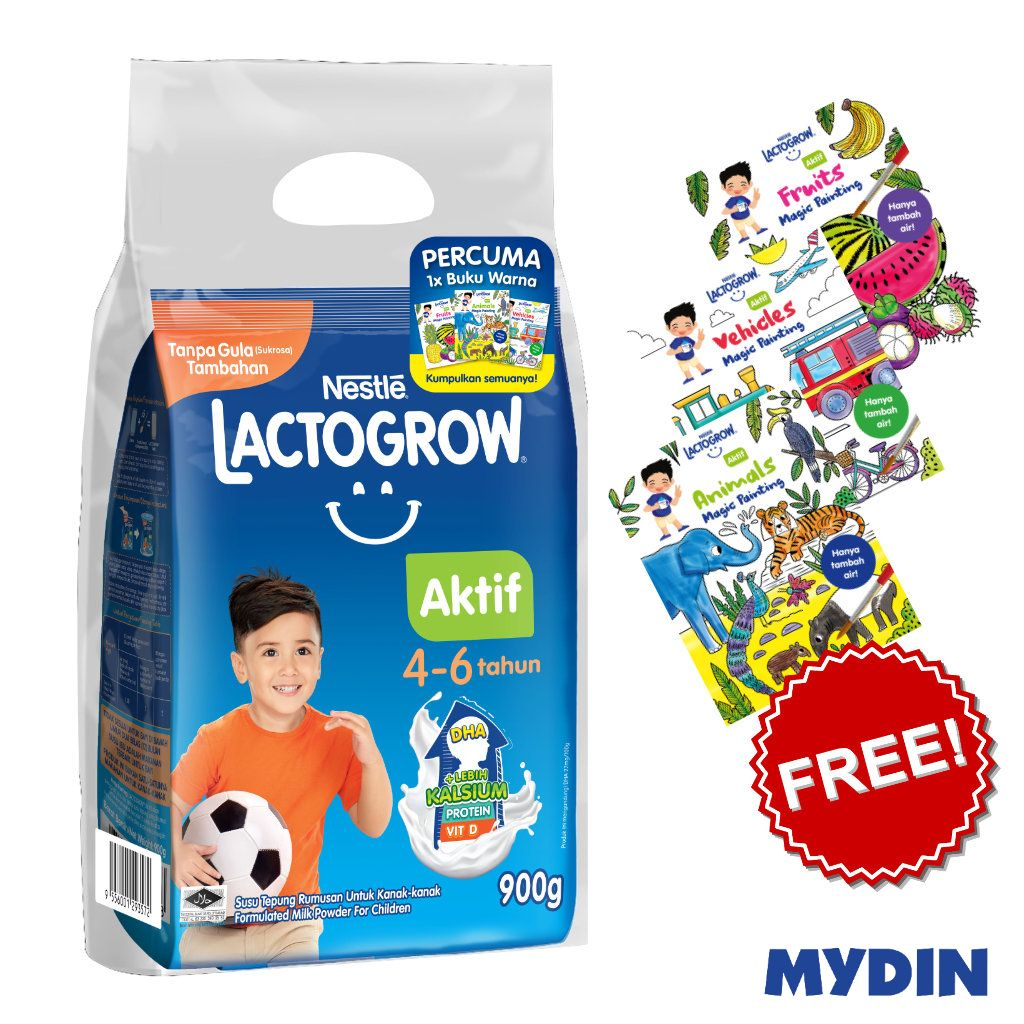 Lactogrow Aktif 4-6 Years (900g) FOC Colouring Book [While Stock Last]