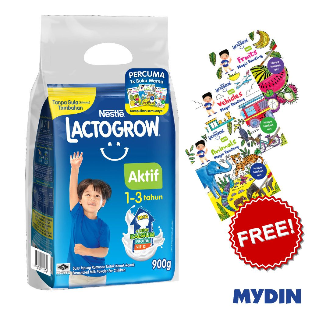 Lactogrow Aktif 1-3 Years (900g) FOC Colouring Book [While Stock Last]
