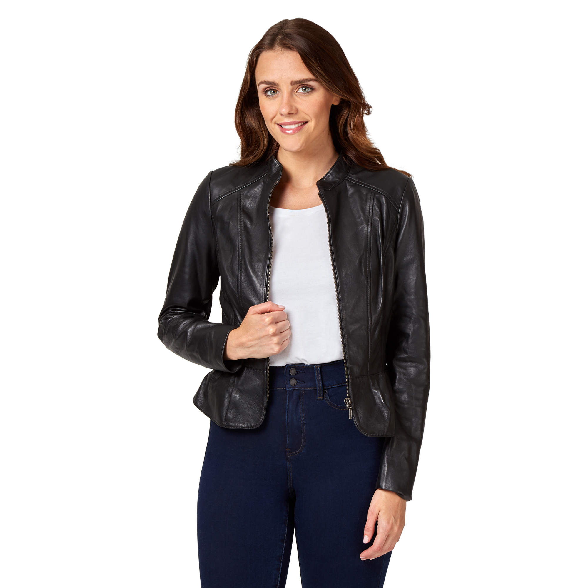Details about NEW Jeanswest Womens Isabelle Leather Collarless Jacket Black Fashion Clothing
